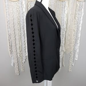 T Tahari Womens Black Cutout One Button Blazer NWT